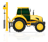 Tractor with a drilling rig vector illustration Royalty Free Stock Image