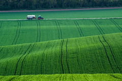 Tractor driven fertilizer Royalty Free Stock Image