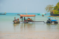 Tractor driven people. Peninsula of Railay. Krabi, Thailand. Stock Photography
