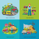 Tractor Driver Flat Set Royalty Free Stock Photo