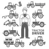 Tractor Driver Icons Royalty Free Stock Photos