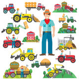 Tractor Driver Icons Set Flat Royalty Free Stock Image