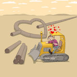 Tractor driver in love Stock Image