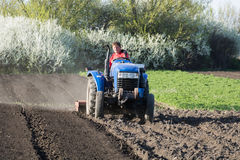 The tractor driver plows the garden. Tractor driver plows a garden on a blue tractor Stock Images