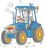 Tractor driver with a small dog Royalty Free Stock Photography