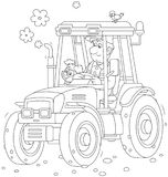 Tractor driver with a small dog. Smiling worker driving his wheeled tractor, a black and white vector illustration in a cartoon style for a coloring book Stock Image