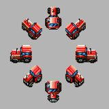 Tractor eight directions retro pixel design Stock Photos