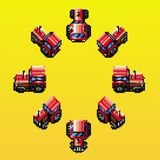 Tractor eight directions retro pixel illustration. Tractor eight directions retro pixel design vector illustration royalty free illustration