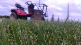 Tractor en grasbehang Stock Foto