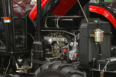 Tractor engine. Diesel power engine at new tractor Stock Images