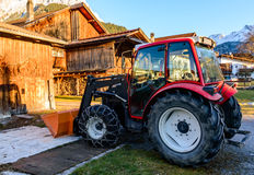Tractor equipped for winter stock image