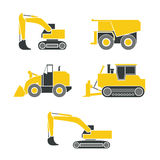 Tractor, excavator, bulldozer, crawler set , Wheeled and continuous track with blade and backhoe. Tractor, excavator, bulldozer, crawler, Wheeled and continuous Stock Photo