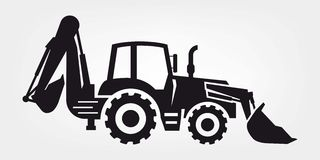 Tractor and excavator. Four black icons on a colored background Stock Image