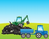 Tractor excavator loads ground Royalty Free Stock Images