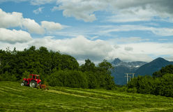 Tractor on farm in countryside. Scenic view of red tractor on sloping field in countryside with mountains and cloudscape background, Norway Royalty Free Stock Photography
