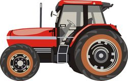 Tractor. For the farm. Red color Royalty Free Stock Image