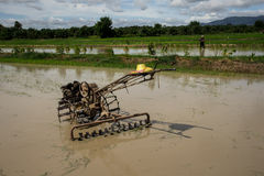 Tractor. Farmers are planting rice in the morning Royalty Free Stock Images