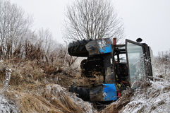 Tractor fell into the ditch Stock Image