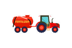 Tractor with fertilizer barrel vector icon. Tractor with fertilizer barrel icon. Rural industrial farm equipment machinery, agricultural vehicle isolated vector Royalty Free Stock Photo