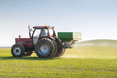 Tractor and fertilizer Royalty Free Stock Images