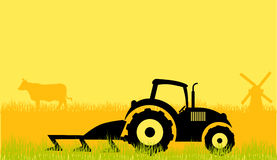 Tractor on a field. A illustration of field and tractor graphic Stock Images