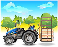 Tractor on field. Agricultural machine, tractor in dark blue color, on field, vector an illustration Royalty Free Stock Photography
