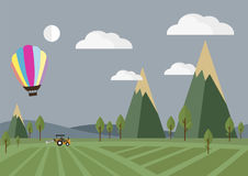 Tractor in the field with Balloon, vector illustration. Agriculture and Farm  flat style,  Rural landscape,  Tractor in the field with Balloon, vector Royalty Free Stock Photos