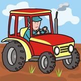 Tractor on the field with driver. The driver of the tractor goes through the field. Vector illustration Royalty Free Stock Photo