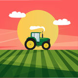 Tractor in a field image. Flat tractor in a field image Stock Image