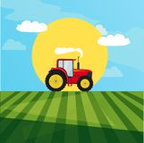 Tractor in a field image. Vector image of a red tractor in a field in the background of the sun Royalty Free Stock Photo