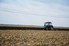 Tractor in the field in the middle of tillage Stock Photography