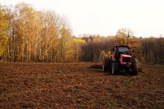 Tractor in the field plows the earth in autumn. Tractor in the field plows the earth in sunny autumn day Stock Photography