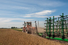 Tractor field road cultivator Stock Photo