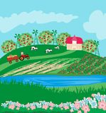Tractor on field rural landscape. Vector Illustration Royalty Free Stock Image