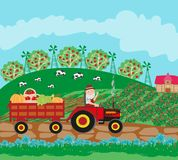 Tractor on field rural landscape. Vector Illustration Royalty Free Stock Photography
