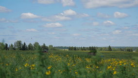 Tractor in field Russia stock video footage
