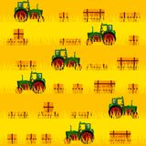Tractor in the field. Seamless pattern. All elements are located on different groups and can be easily disabled Royalty Free Stock Photos
