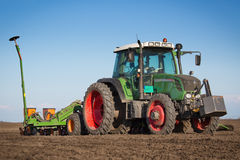 Tractor in the field sow Stock Photos