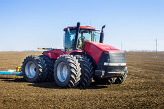 Tractor in the field sow Stock Images