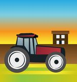 Tractor on the field at sunset with the farm in the background. Vector illustration of tractor on the field at sunset with the farm in the background Royalty Free Stock Photos