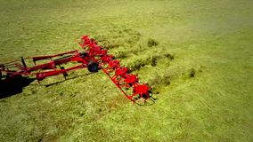 Tractor field two aerial photographs. Tractor moves across the field two aerial photographs stock video footage
