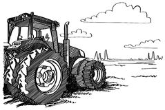 Tractor on a field. Vector freehand linear ink hand drawn picture. Stock Photo