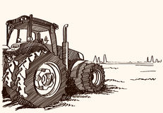 Tractor on a field. Vector freehand linear ink hand drawn picture. Tractor on a field. Vector freehand linear ink hand drawn icon picture sketchy in art Stock Photography