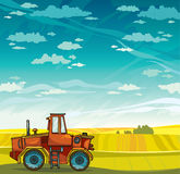 Tractor and field. Vector rural landscape. Stock Images