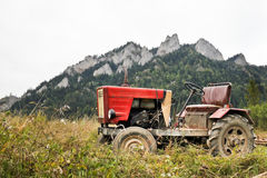 Tractor at the foot of the Three Crowns, Poland Royalty Free Stock Photography
