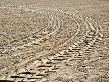 Tractor footprints field curve Royalty Free Stock Images