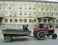 Tractor in front of Kosovo Court of Appeals Royalty Free Stock Photography