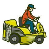 Tractor grass cutter icon, hand drawn style stock illustration