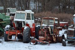 Tractor Graveyard in Winter stock image