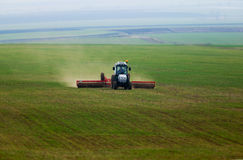 Tractor in a green corn-field stock images